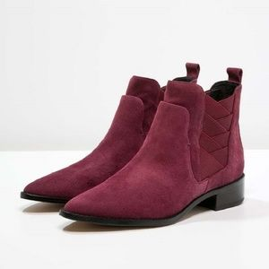 REBECCA MINKOFF Suede Leather Burgundy Boots